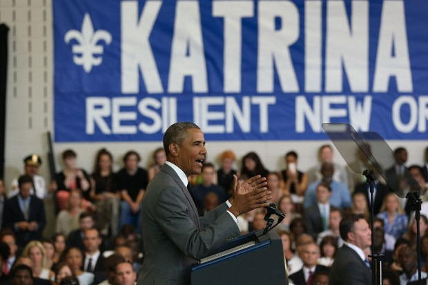 Obama sees message of resilience on streets of New Orleans