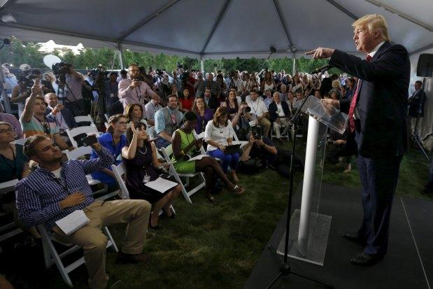 Donald Trump speaks at $100-per-person event near Boston