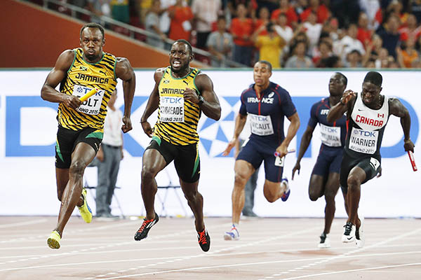 Bolt leads Jamaica to 4x100 relay gold as US stumble