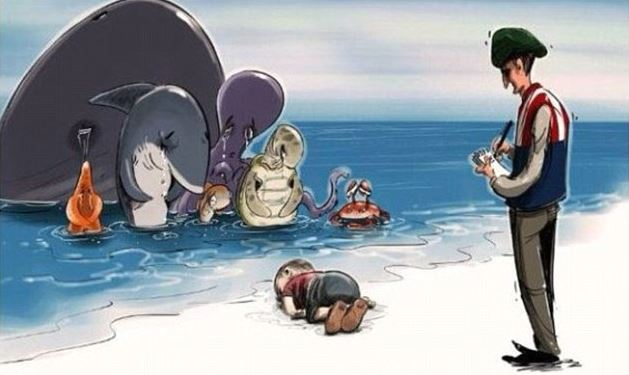 World artists pay tribute to Syrian boy who drowned off Turkey