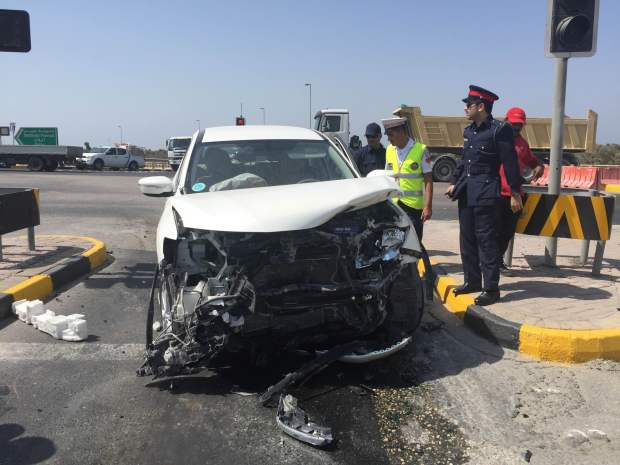 Young woman injured in Janabiya Highway crash