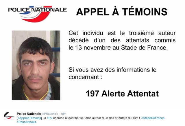 Paris police release photo of third stadium suicide bomber