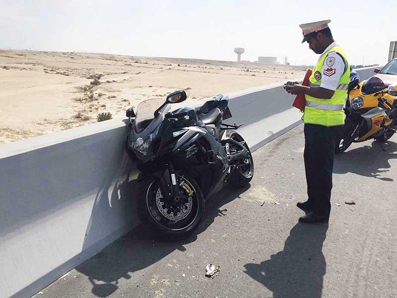 Motorcyclist falls 20 metres after crash on flyover