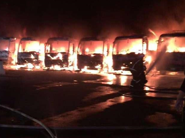 Binladin Group workers set fire to seven company buses over unpaid salaries