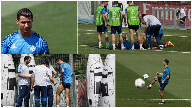 Cristiano Ronaldo OK after injury scare in Madrid practice