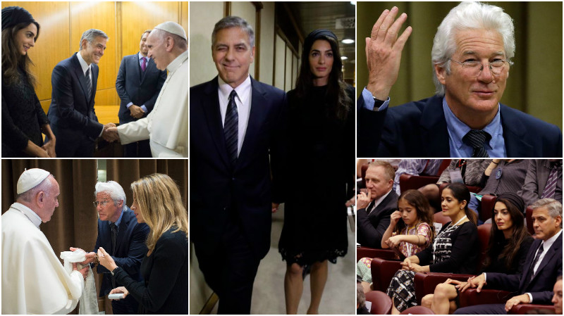 World News: Pics: Richard Gere, Salma Hayek, George and Amal Clooney meet  Pope Francis