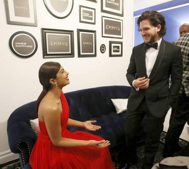 Emmys: Priyanka Chopra and Kit 'Jon Snow' Harington pose for photos