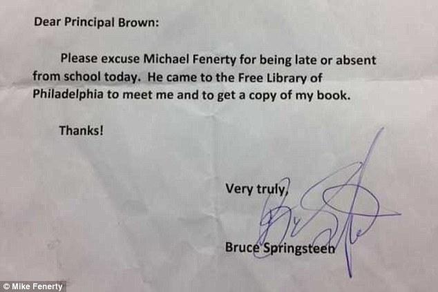 Springsteen signs Philadelphia fifth-grader's absence note