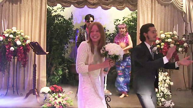 Shia LaBeouf live streams his Elvis-themed Vegas wedding