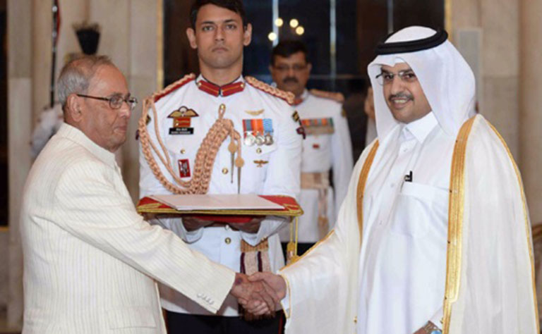 Indian President receives new Qatari ambassador