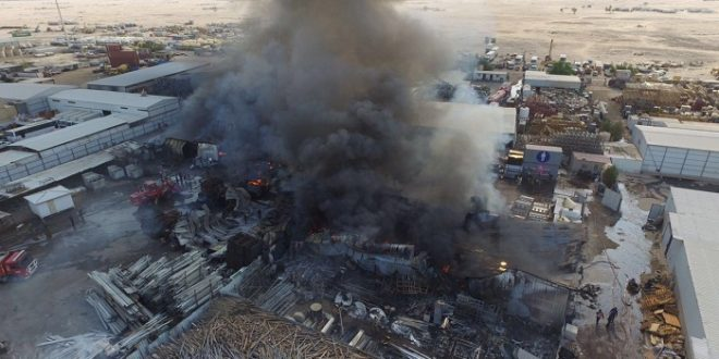 Fire guts three industrial warehouses, no casualties reported