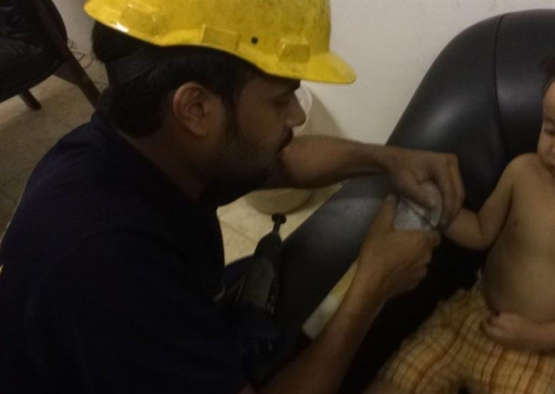 Photos: Child's hand freed from pipe by civil defence unit