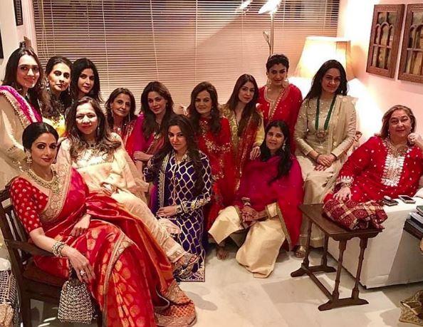 Photos: Sridevi, Bipasha and Raveena rocked the Karwa Chauth look