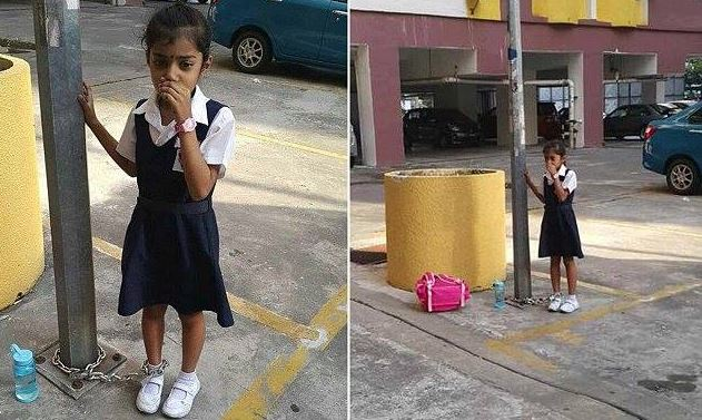 Mother chains daughter to a lamp post as punishment in Malaysia