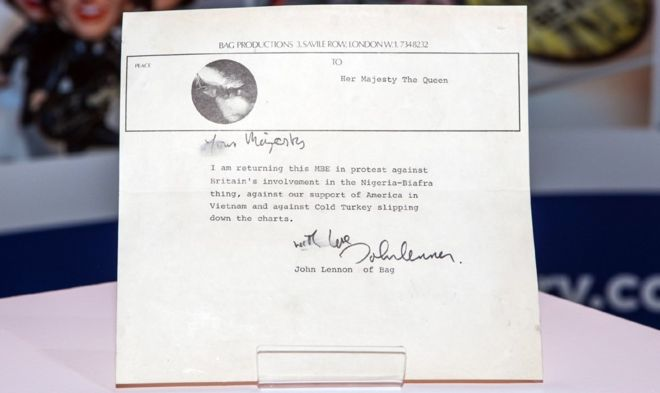 John Lennon MBE return letter valued at £60k