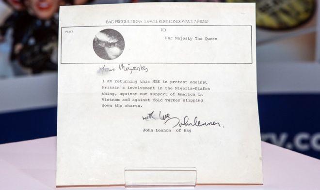 John Lennon MBE return letter valued at £60k