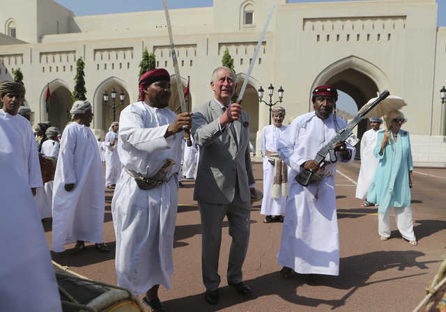 PHOTOS: Prince Charles begins Middle East tour with traditional sword dance