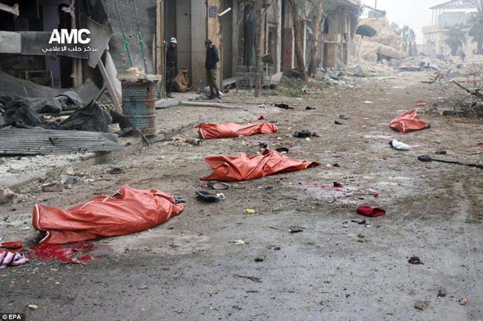 Bodies lie scattered on the streets of Aleppo