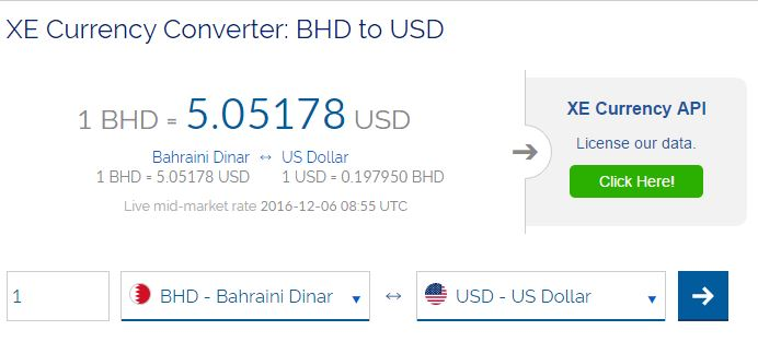Popular currency converter website shows exchange rate at $5 to a Bahraini dinar