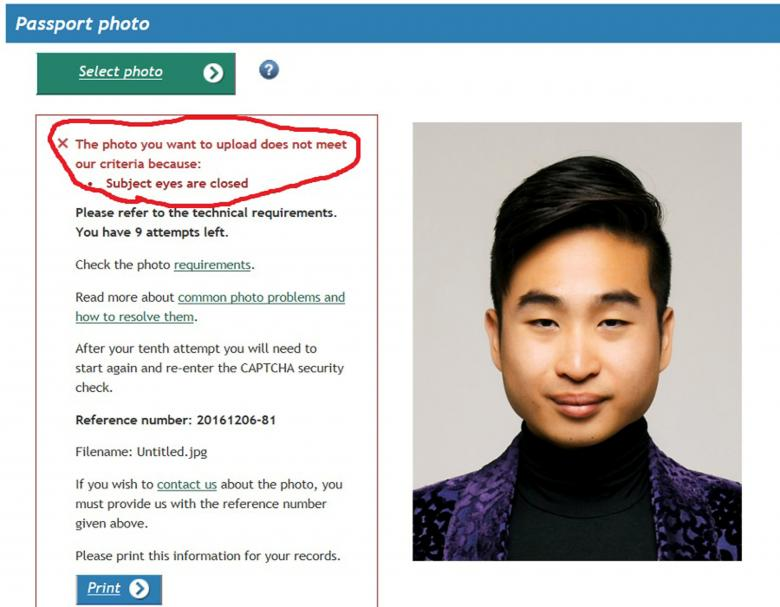 New Zealand passport robot tells applicant of Asian descent to open eyes