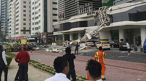 Video: Cars burn as crane falls on Shaikh Zayed Road