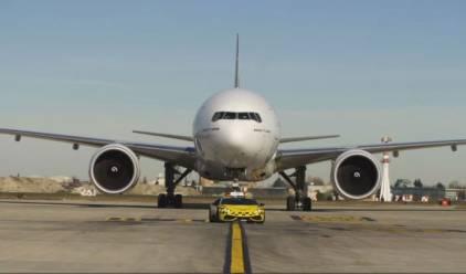 Watch: Lamborghini escorts Emirates plane on airport runway