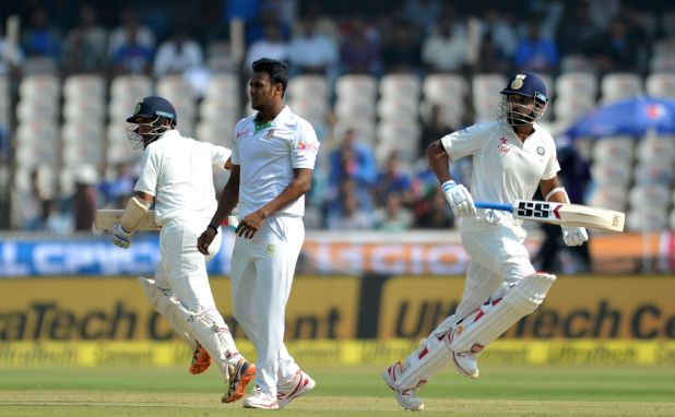 India reaches 86-1 at lunch on day 1 of test vs Bangladesh