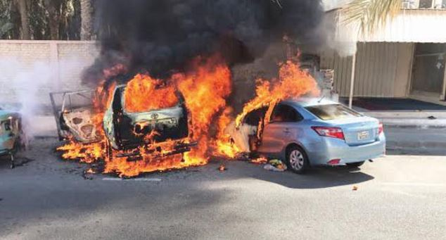 Fire guts four cars in parking lot