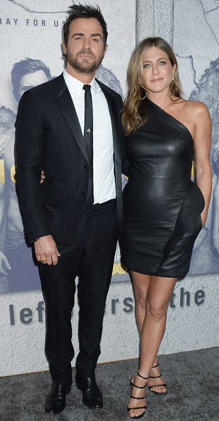 Jennifer Aniston in skintight dress at premiere of husband's The Leftovers season 3