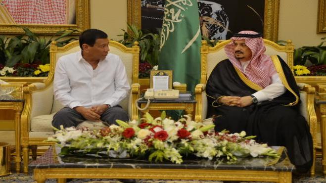 Philippines President Duterte arrives in Saudi for state visit