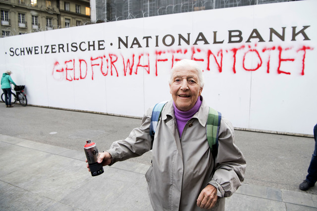 Police detain 86-year-old spray-painter at Swiss bank