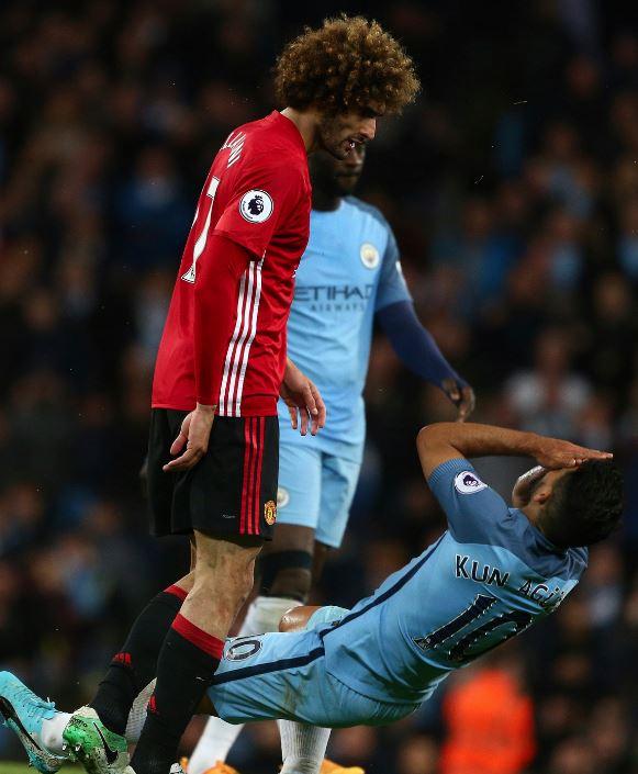 PHOTOS: Fellaini headbutts Aguero as United hold City in Manchester derby