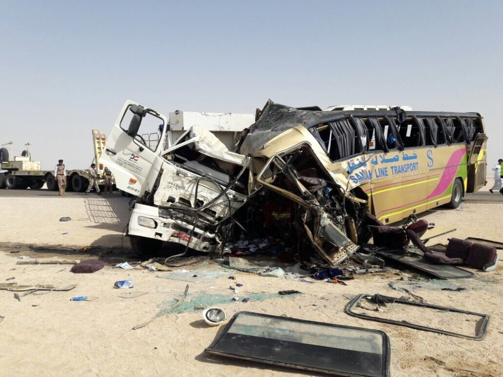Bus and truck collision leaves two dead and thirty five injured