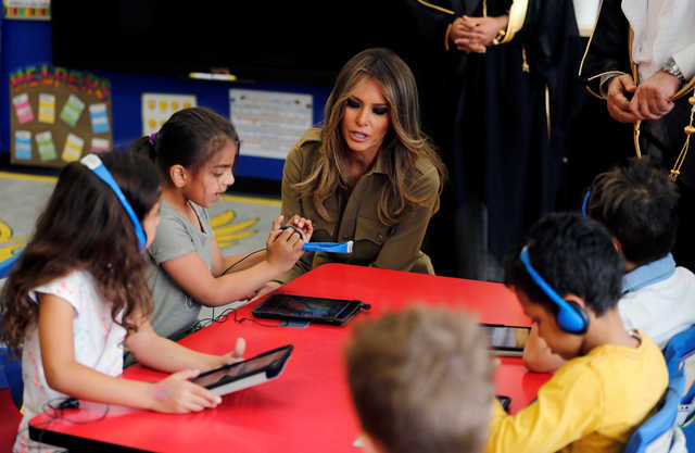 In Pictures: Melania Trump visits the American International School in Riyadh