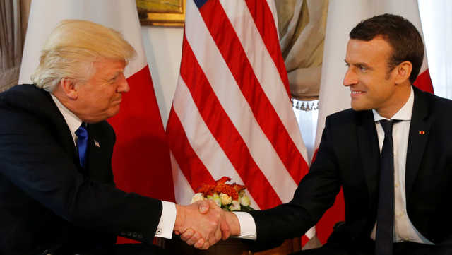 Trump meets France's Macron in Brussels