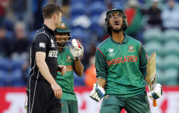 Bangladesh knocks New Zealand out of Champions Trophy in record stand