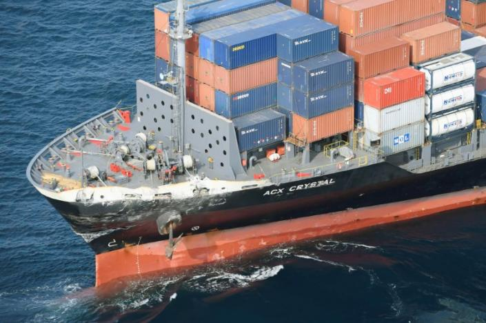 US Coast Guard interviews container ship crew after warship collision