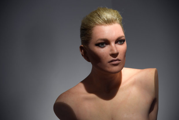 British model Moss immortalised as mannequin-style sculpture