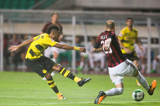 IN PICTURES: Aubameyang nets two as Dortmund beat AC Milan