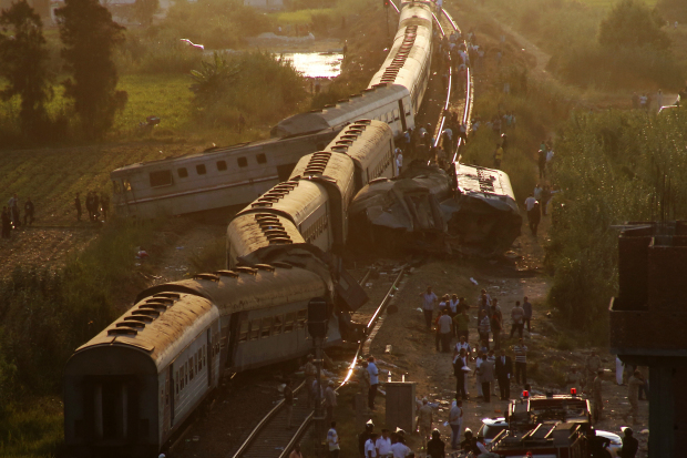 Train collision in northern Egypt kills at least 36