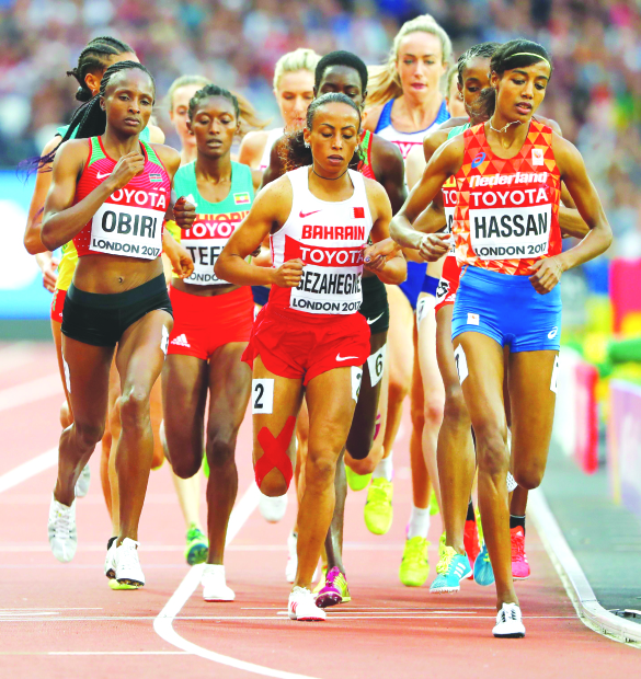 Bahrain's Mikhou finishes sixth in 1,500m