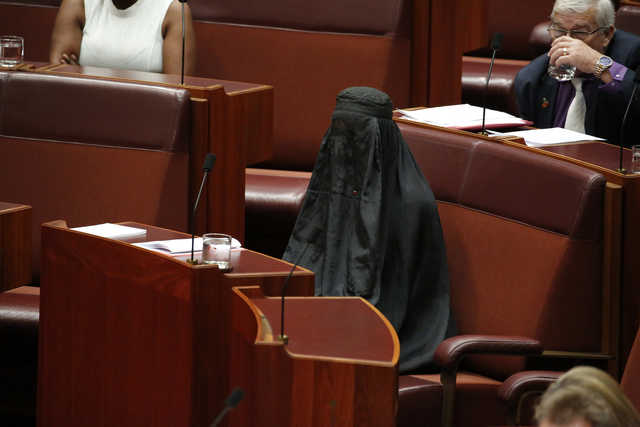 Australian anti-immigration politician wears burka in Senate