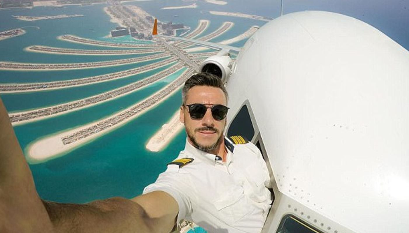 Playful pilot's selfies stir massive debate over whether they are real or fake!