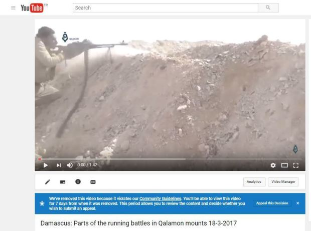 History of Syria's war at risk as YouTube reins in content
