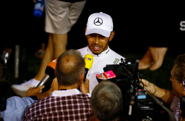 Hamilton holding on 'for dear life' in Singapore
