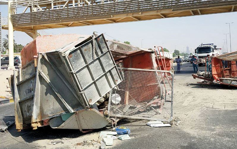 Footbridge damaged due to excessive truck load height