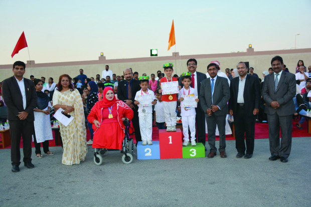 <p><em>Ms Nedham with school officials and prize winners. </em></p><p>More than 1,500 pupils took part in the Indian School Bahrain's first kindergarten sports day, Colour Splash, at its Riffa campus. </p><p>Chief guest Fatima Razzaq Nedham, Paralympics gold medallist from Bahrain at the Rio 2016 Olympics and at the London World Championship, inaugurated the event which was declared open by school chairman Prince Natarajan. </p>