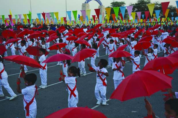 <p>Students put up a colourful performance at the event.</p>