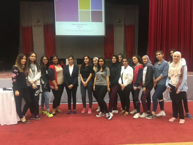 The Royal University for Women (RUW) visited Al Hekma International School. Female students from grades 11 and 12 met a representative from RUW and were briefed on the advantages of studying at the university. Undergraduate degree programmes, scholarships, financial aid, student services and other information regarding RUW was presented to the students. Above, students during the visit.