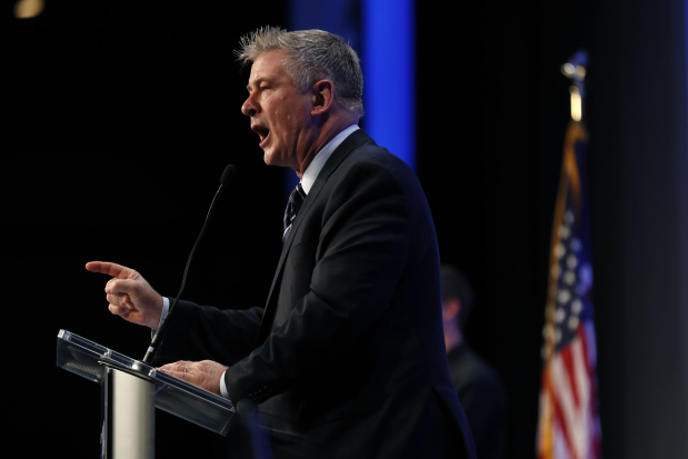 Alec Baldwin mixes Trump spoof with activism in Iowa speech